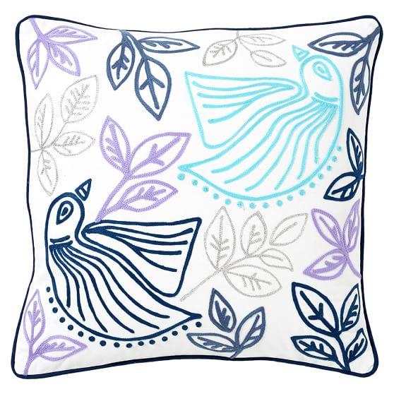 Boho Bird Pillow Cover, 16x16, Cool