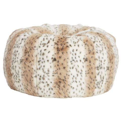 Snow Leopard Faux Fur Beanbag, Large, Slipcover + Beanbag Insert