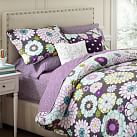 Madison Floral Duvet Cover, Twin, White/Gray