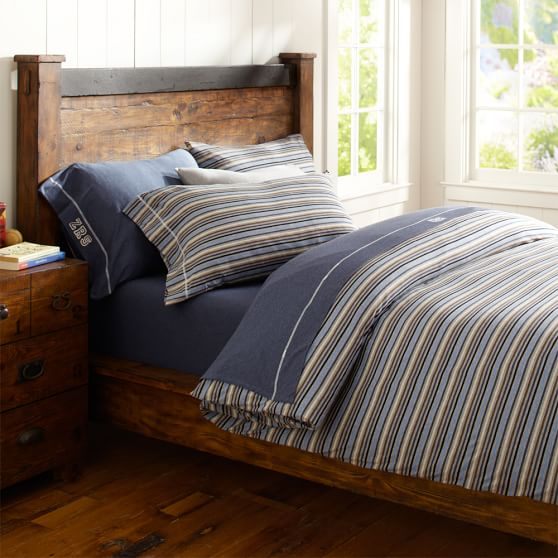 Stripe Favorite Tee Extra Pillowcases, Set of Two, Standard, Gray/Blue