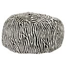 Brown Zebra Faux Fur Beanbag, Small, Slipcover + Beanbag Insert