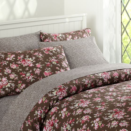 Sunwashed Floral Duvet Cover, Twin, Coffee