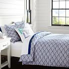 Quincy Scallop Duvet Cover, Full/Queen, Royal Navy