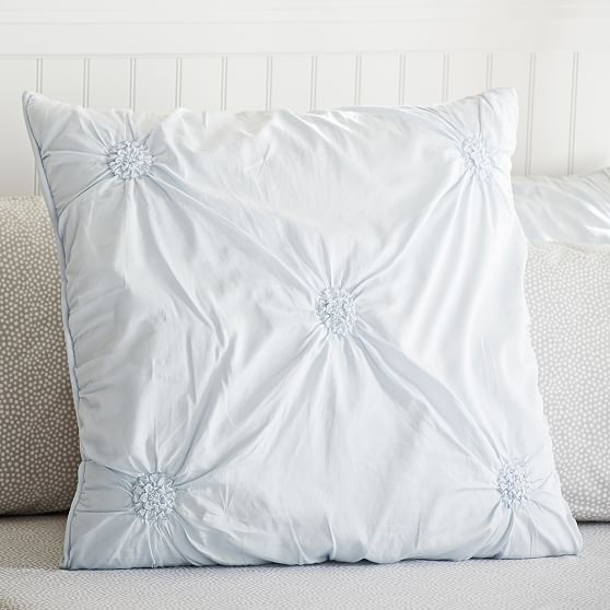 Ruched Rosette Euro Sham, Frost Blue