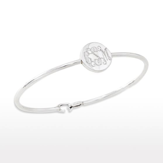 Sarah Chloe Bangle, Silver Monogram