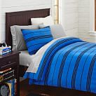 Fleece Duvet Cover, Twin, Stripe Navy