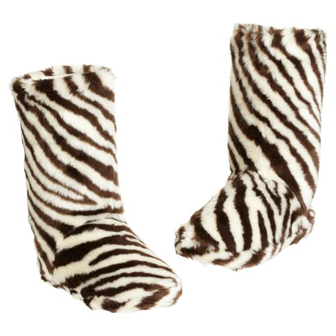 Furry Booties - Zebra, Small
