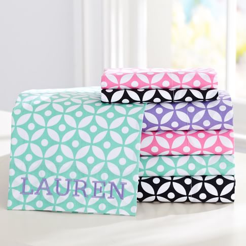 Petal Dot Sheet Set, Twin/XL Twin, Bright Pink