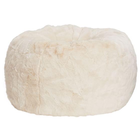 Polar Bear Faux Fur Beanbag, Large, Slipcover + Beanbag Insert
