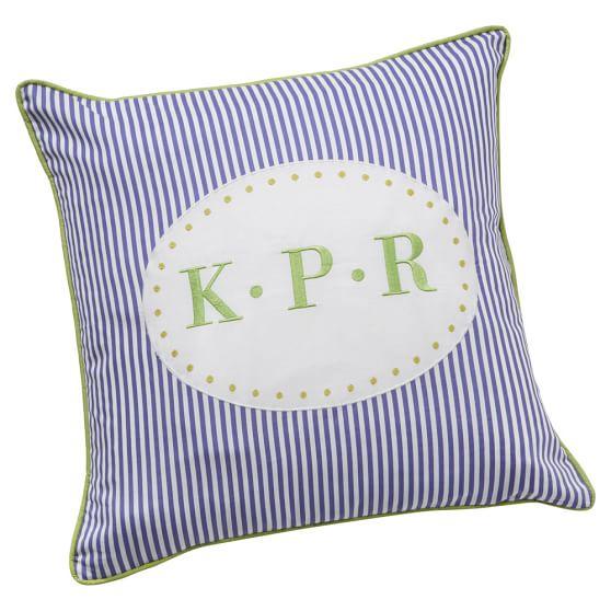 Monogram Pillow Cover, 16x16, Applique Stripe Pillow, Mint/ Perriwinkle