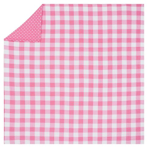 Reversible Kantha Quilt, Twin, Bright Pink