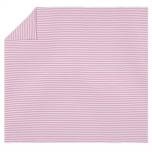 Simple Stripe Favorite Tee Duvet Cover & Pillowcase, Twin, Bright Pink
