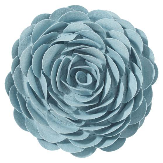 Dorm Flora Felt Pillow Cover, Round, Sky Blue