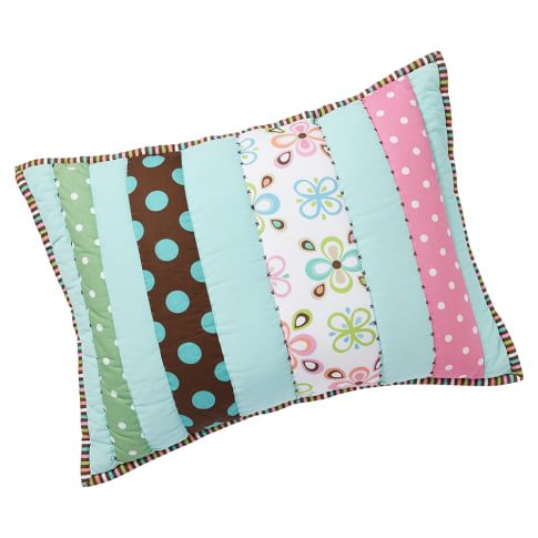 Peace Patchwork Sham, Standard, Pool with Multi
