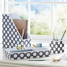 Printed Desk Desk Accessories, Gray Dottie