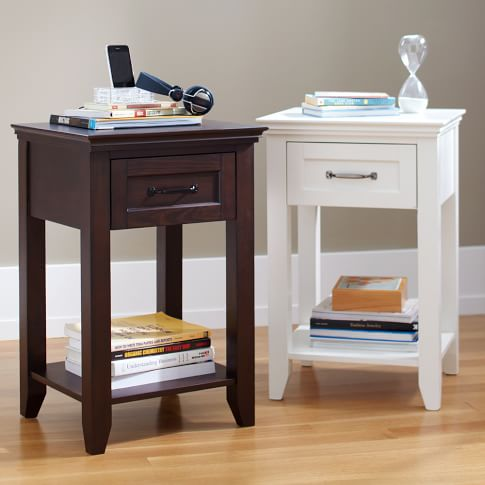 Hampton Bedside Table, Distressed Ivory