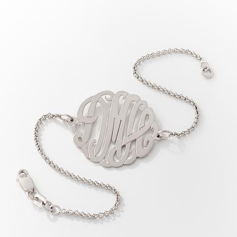 Cursive Monogram Bracelet, Silver