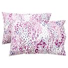 Cheetah Pillowcases, Set of 2, Lavender Multi