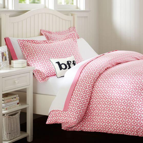 Petal Dot Duvet, Twin, Bright Pink