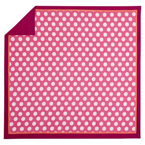 Dot Spot Duvet Cover, Full/Queen, Dark Pink