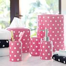 Dottie Bath Accessory, Tissue Box, Bright Pink Dottie