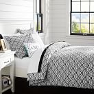 Quincy Scallop Duvet Cover, Twin, Black
