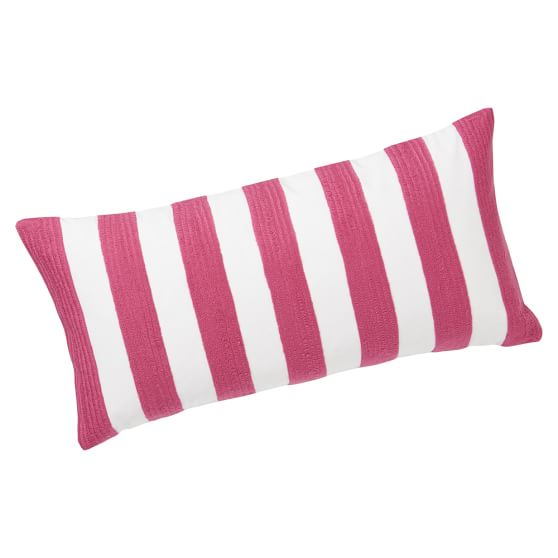 Cottage Stripe Pillow Cover, Pink Magenta