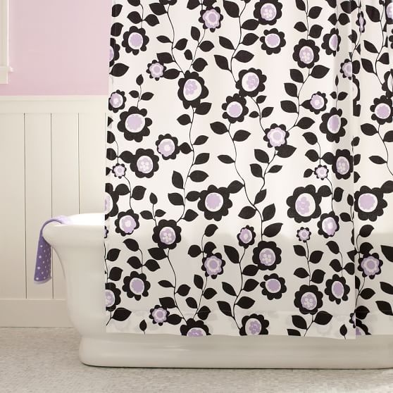 Nouveau Floral Shower Curtain, Bright Pink