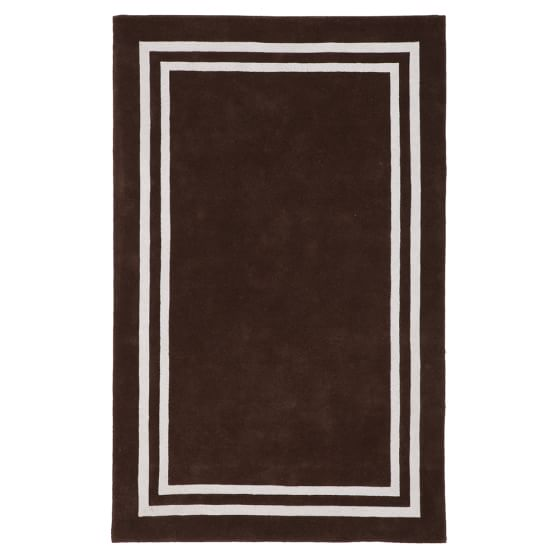 Decorator Border Rug, 3x5, Dark Coffee