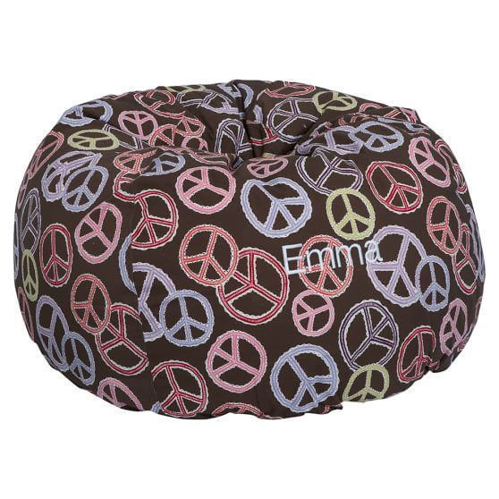 Peace Out Beanbag Slipcover, Coffee