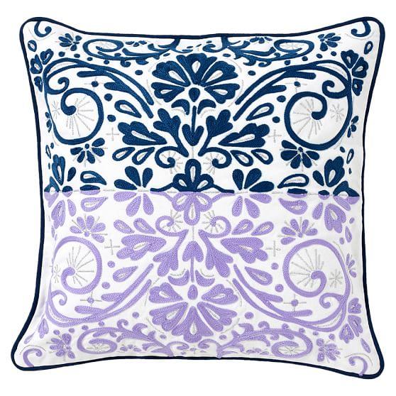 Calypso Crewel Pillow Cover, 16x16, Cool