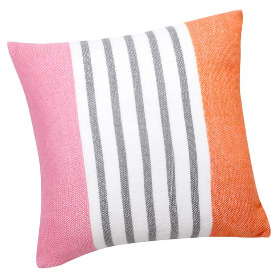 Pattern Play Pillow Cover, 16x16, Bright Pink Stripe
