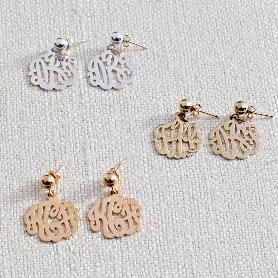 Monogram Earrings, Silver