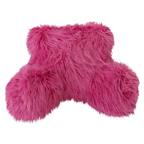 Fur-Rific Faux Fur Lounge Around Pillow Cover, Bright Pink