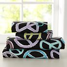 Peace Out Flannel Sheet Set, Full, Black Multi