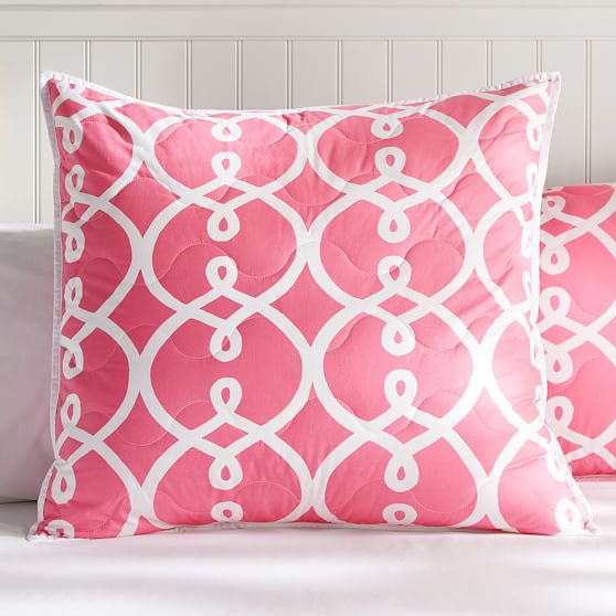 Totally Trellis, Euro Sham, Bright Pink