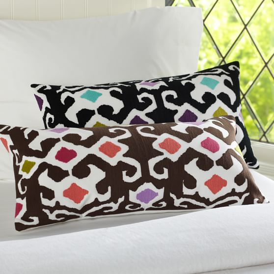 Ikat Lumbar Pillow Cover, Warm, 12x24