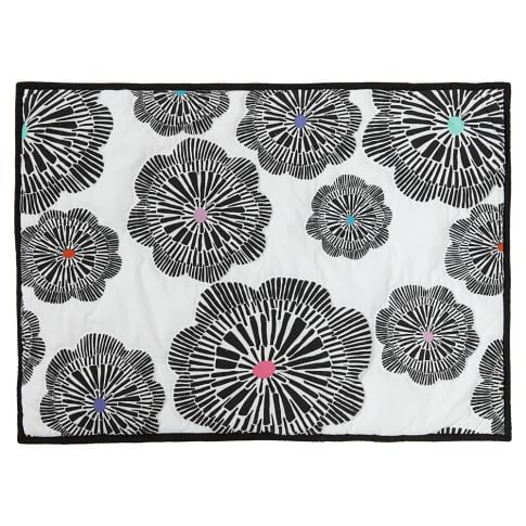 Graphic Bloom Sham, Standard, White/Black