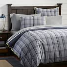 Tribeca Plaid Reversible Duvet Cover + Sham, Twin, Grey