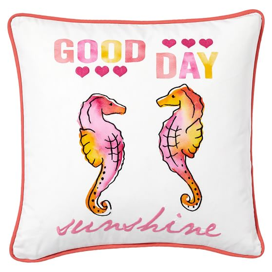 Coastal Phrases Pillow Cover, 18x18, Good Day Sunshine