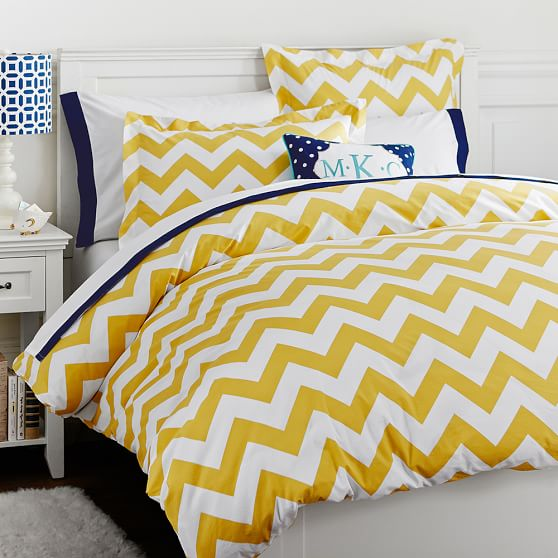 chevron duvet cover sham yellow pbteen. Black Bedroom Furniture Sets. Home Design Ideas