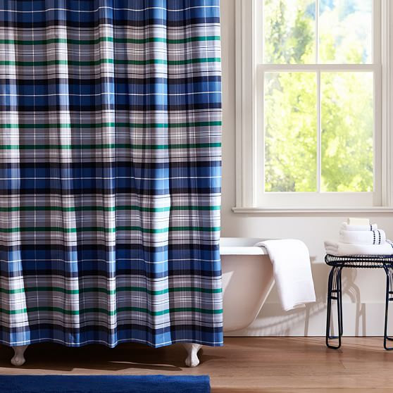 portsmith plaid shower curtain navy pbteen