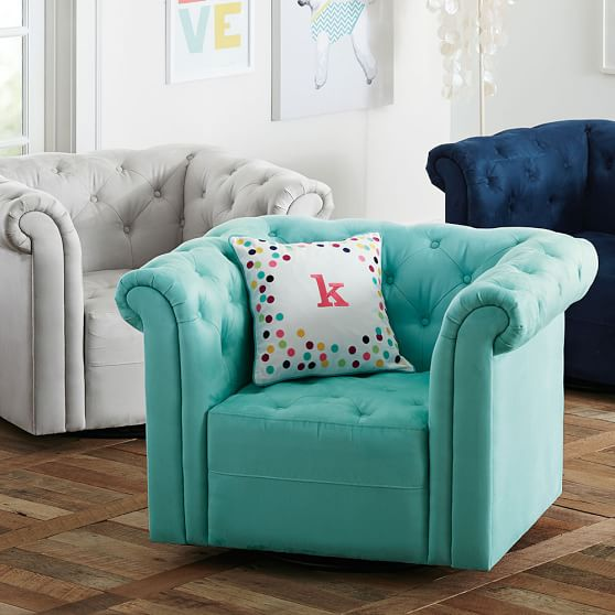 Cushy Roll Arm Swivel Chair Pbteen