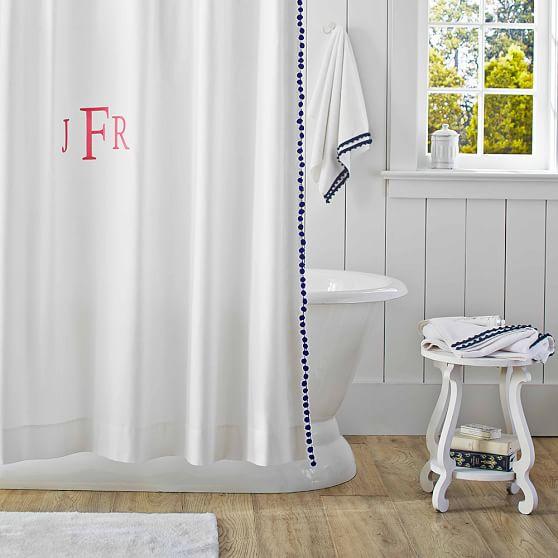 Pom Pom Shower Curtain Royal Navy Pbteen