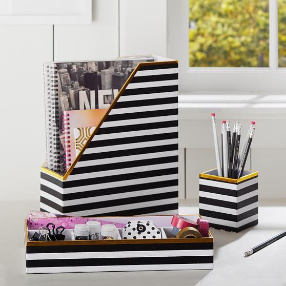 Printed Desk Accessories Black White Stripe With Gold