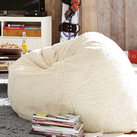 Ivory Sherpa Faux Fur Beanbag : PBteen