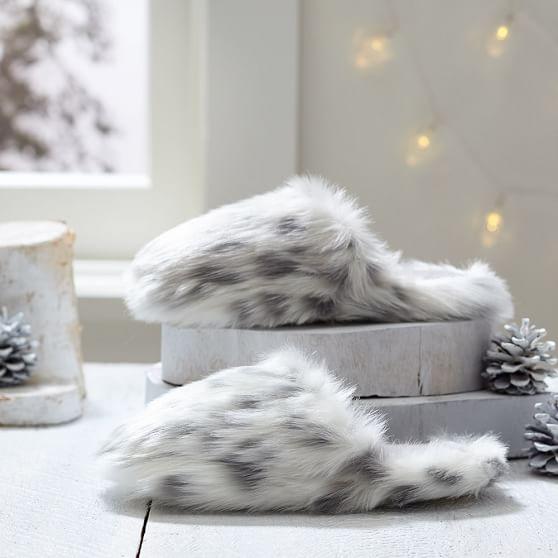 Faux Fur Slippers Gray Leopard PBteen