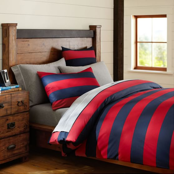 Rugby Stripe Duvet Cover Sham Navy Red Pbteen
