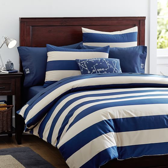 Rugby stripe duvet cover sham navy stone pbteen for How to change a duvet cover by rolling