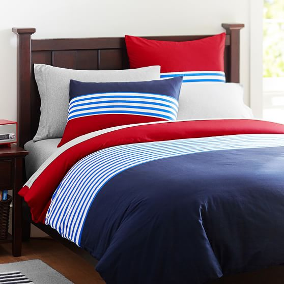Nantucket stripe duvet cover sham navy red pbteen for How to change a duvet cover by rolling